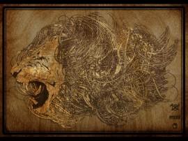 Papel de parede Leão Desenhado