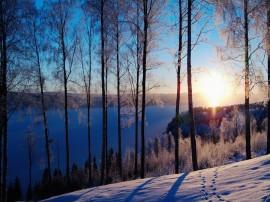 Papel de parede Pôr-Do-Sol de Inverno no Lago