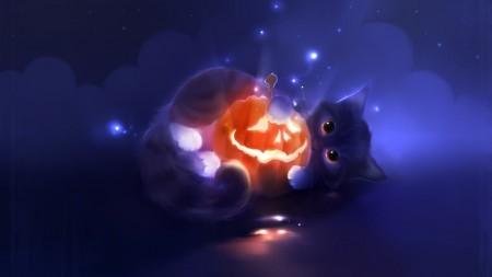 Papel de parede Desenho de Gato com Abóbora para download gratuito. Use no computador pc, mac, macbook, celular, smartphone, iPhone, onde quiser!