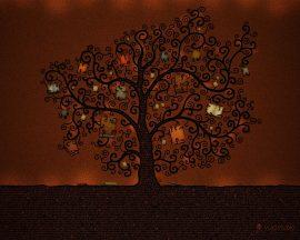 Papel de parede Árvores ilustrada