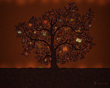 Papel de parede Árvores ilustrada para download gratuito. Use no computador pc, mac, macbook, celular, smartphone, iPhone, onde quiser!