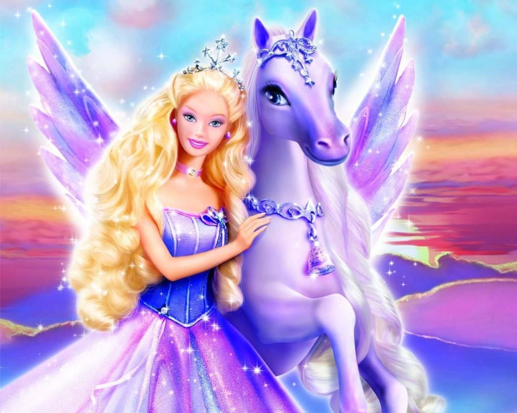 Papel de parede Barbie e o Pégasus para download gratuito. Use no computador pc, mac, macbook, celular, smartphone, iPhone, onde quiser!