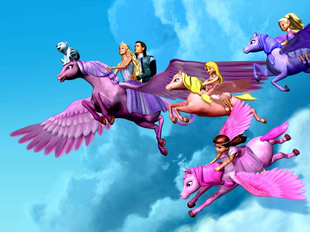 Papel de parede Barbie Voando no Pégasus Mágico para download gratuito. Use no computador pc, mac, macbook, celular, smartphone, iPhone, onde quiser!