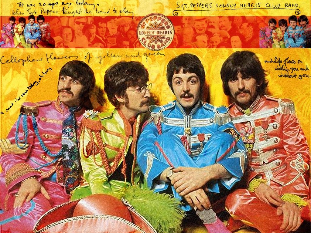 Papel de parede The Beatles – Sgt. Peppers Lonely Hearts Club Band para download gratuito. Use no computador pc, mac, macbook, celular, smartphone, iPhone, onde quiser!