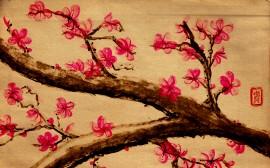 Papel de parede Desenho Tradicional de Cerejeira