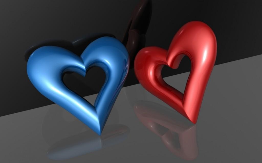 Papel de parede Coração – Azul e Vermelho para download gratuito. Use no computador pc, mac, macbook, celular, smartphone, iPhone, onde quiser!
