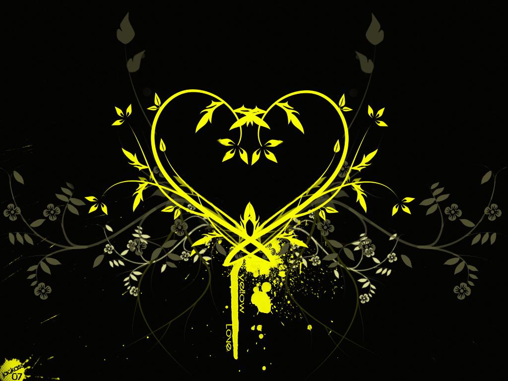 Papel de parede Design: Coração de Arabesco Amarelo para download gratuito. Use no computador pc, mac, macbook, celular, smartphone, iPhone, onde quiser!