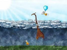 Papel de parede Desenho de Girafa nas Nuvens