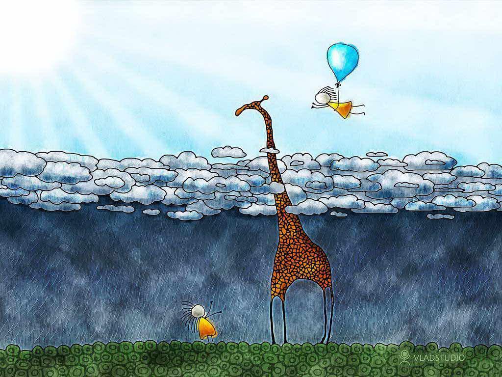 Papel de parede Desenho de Girafa nas Nuvens para download gratuito. Use no computador pc, mac, macbook, celular, smartphone, iPhone, onde quiser!