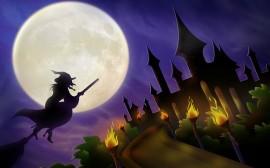 Papel de parede Bruxa Voando na Noite de Halloween