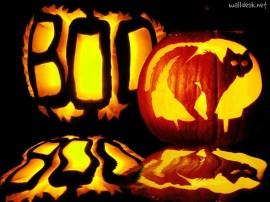Papel de parede Abóboras de Halloween Esculpidas