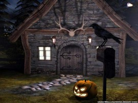 Papel de parede Casa, Corvo e Abóbora de Halloween