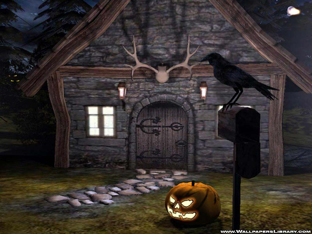 Papel de parede Casa, Corvo e Abóbora de Halloween para download gratuito. Use no computador pc, mac, macbook, celular, smartphone, iPhone, onde quiser!