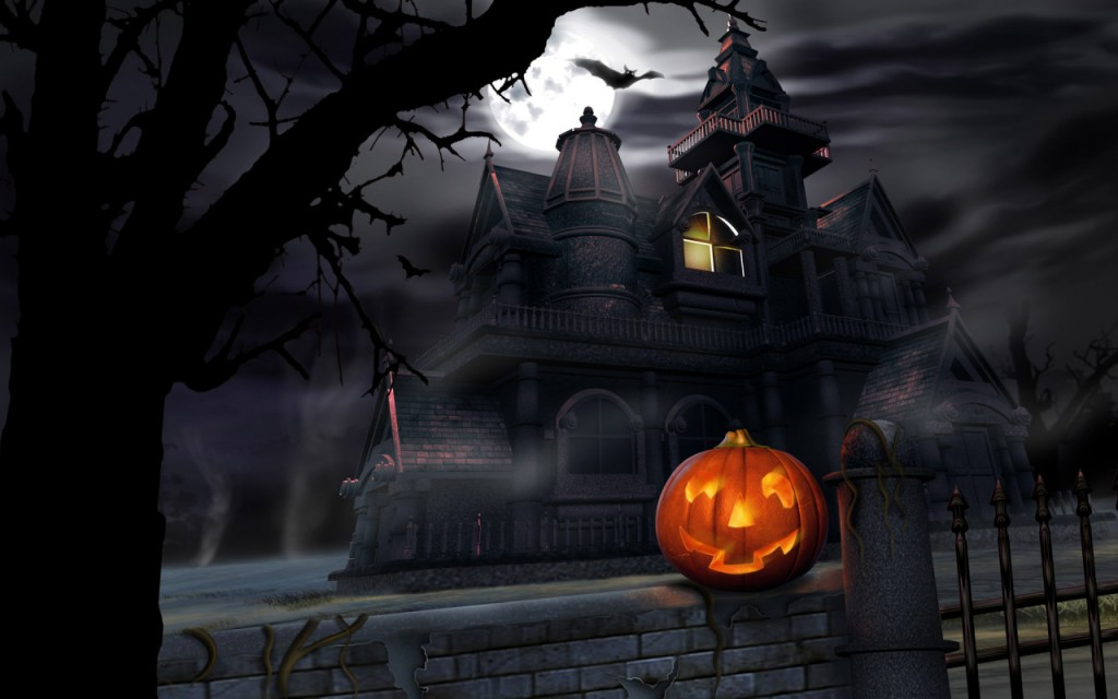 Papel de parede Casa Assustadora de Halloween para download gratuito. Use no computador pc, mac, macbook, celular, smartphone, iPhone, onde quiser!