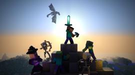 Papel de parede Mundo Jogo Minecraft – No Topo da Montanha do Dragão