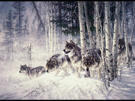 Papel de parede Caçada da Matilha de Lobos