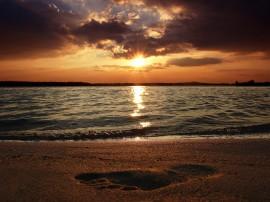 Papel de parede Pôr-do-sol na Praia: Pegada