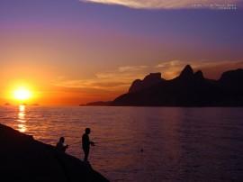 Papel de parede Pôr-do-sol na Praia: Pescaria