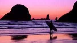 Papel de parede Pôr-do-sol na Praia: Surf