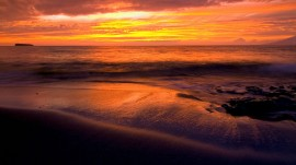 Papel de parede Pôr-do-sol na Praia: Laranja