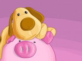 Papel de parede Porco e Cachorro