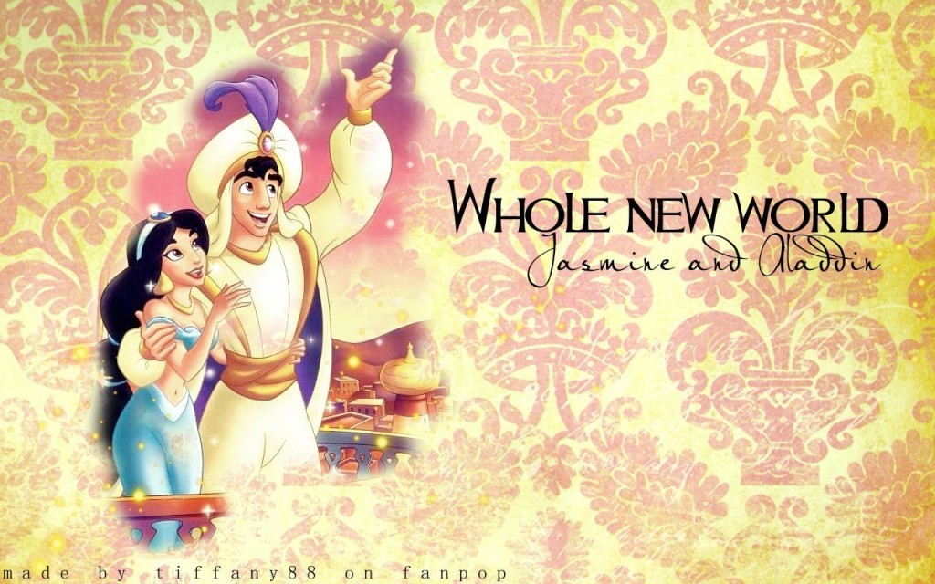 Papel de parede Princesas – Jasmine e Aladdin para download gratuito. Use no computador pc, mac, macbook, celular, smartphone, iPhone, onde quiser!