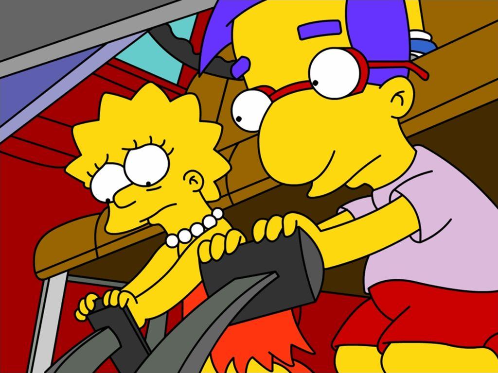 Papel de parede Os Simpsons – Lisa e Milhouse para download gratuito. Use no computador pc, mac, macbook, celular, smartphone, iPhone, onde quiser!