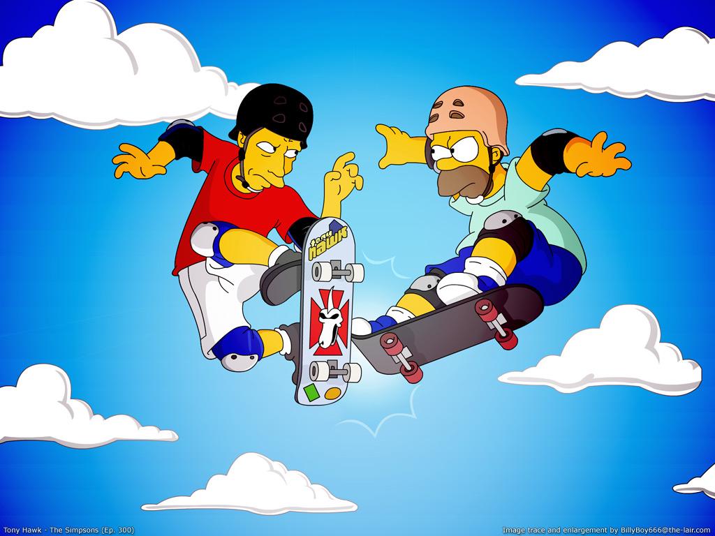 Papel de parede Os Simpsons – Homer e Tony Halk para download gratuito. Use no computador pc, mac, macbook, celular, smartphone, iPhone, onde quiser!