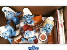 Papel de parede Smurfs – Na Caixa