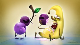 Papel de parede Uvas e Banana