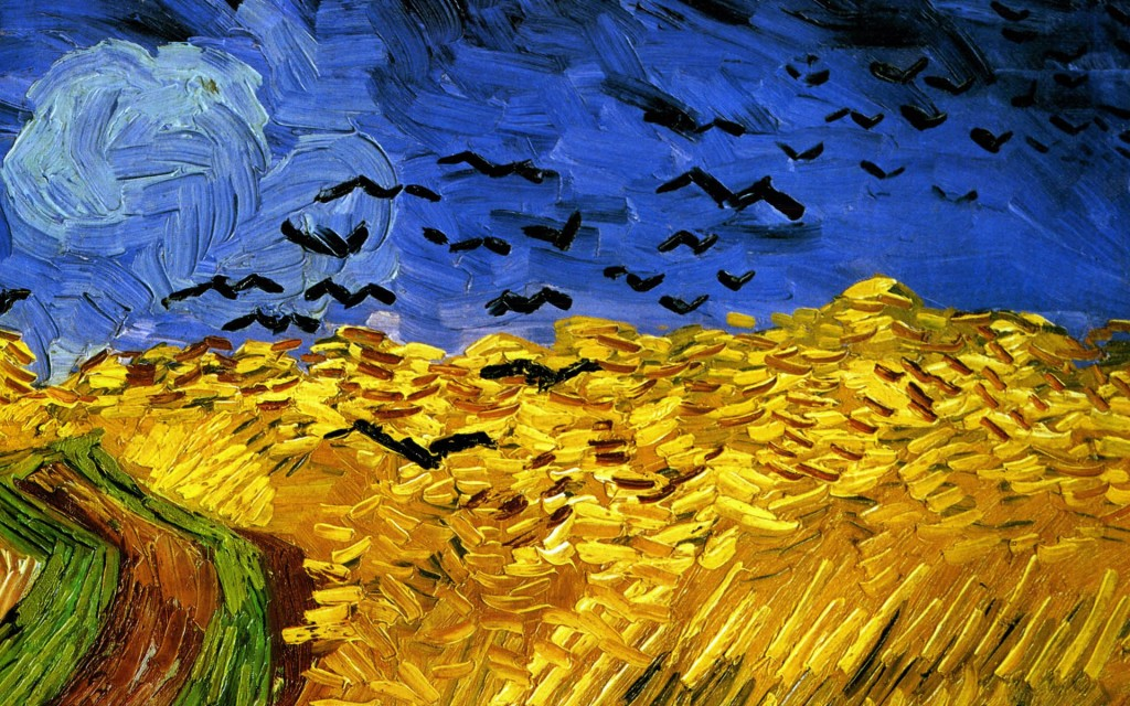 Papel de parede Van Gogh – Campo de Trigo com Corvos para download gratuito. Use no computador pc, mac, macbook, celular, smartphone, iPhone, onde quiser!