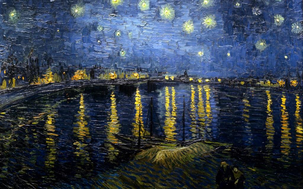 Papel de parede Van Gogh – Noite Estrelada Sobre o Ródano para download gratuito. Use no computador pc, mac, macbook, celular, smartphone, iPhone, onde quiser!