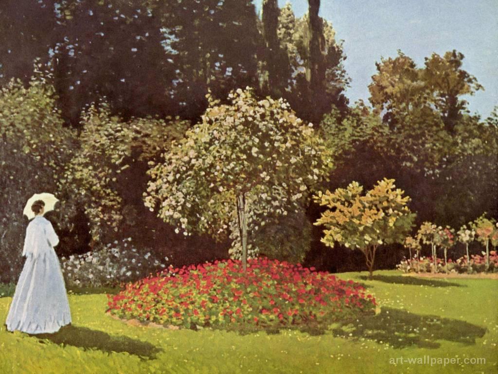 Papel de parede Monet – Mulher no Jardim para download gratuito. Use no computador pc, mac, macbook, celular, smartphone, iPhone, onde quiser!