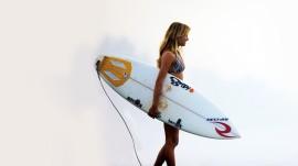 Papel de parede Alana Blanchard com sua Prancha de Surf