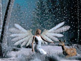 Papel de parede Anjos de Natal – Na neve