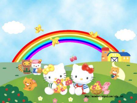 Papel de parede Arco-iris Hello Kitty para download gratuito. Use no computador pc, mac, macbook, celular, smartphone, iPhone, onde quiser!
