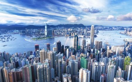 Papel de parede Arranha-Céus de Hong Kong para download gratuito. Use no computador pc, mac, macbook, celular, smartphone, iPhone, onde quiser!