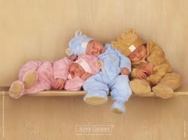 Papel de parede Bebês Dormindo na Prateleira
