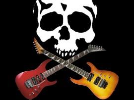 Papel de parede Caveira com Guitarras