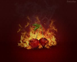 Papel de parede Cereja em chamas