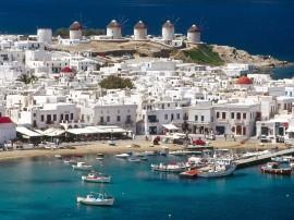 Papel de parede Cidade de Mykonos, Ilha Cyclades, Grécia