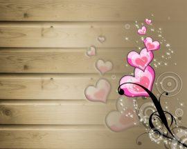 Papel de parede Coração e madeira