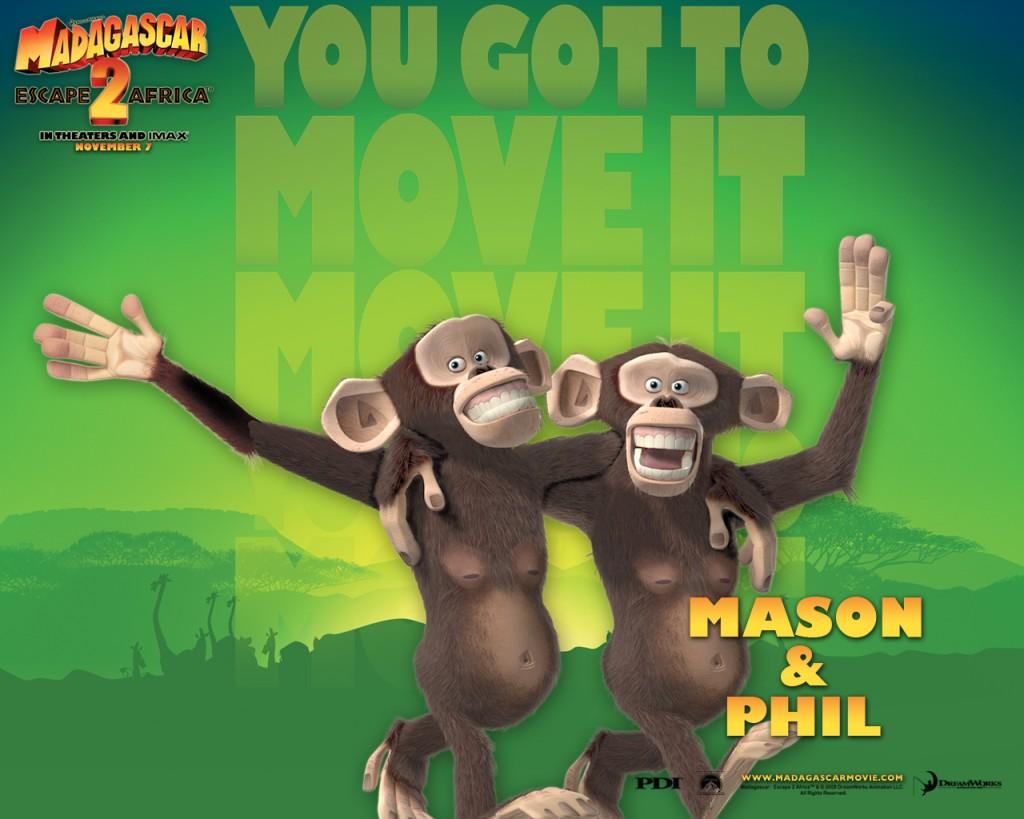 Papel de parede Madagascar: Phil e Mason para download gratuito. Use no computador pc, mac, macbook, celular, smartphone, iPhone, onde quiser!