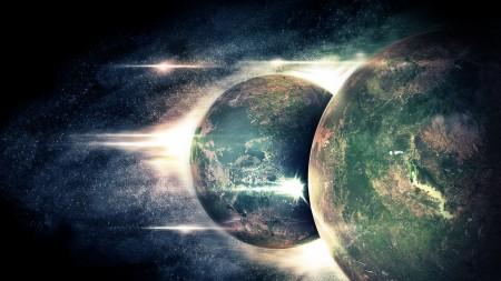 Papel de parede Dois Planetas Em Outro Espaço para download gratuito. Use no computador pc, mac, macbook, celular, smartphone, iPhone, onde quiser!