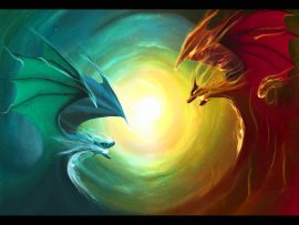 Papel de parede Dragão – Vermelho e Azul