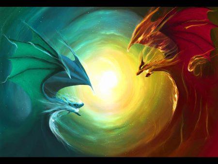 Papel de parede Dragão – Vermelho e Azul para download gratuito. Use no computador pc, mac, macbook, celular, smartphone, iPhone, onde quiser!