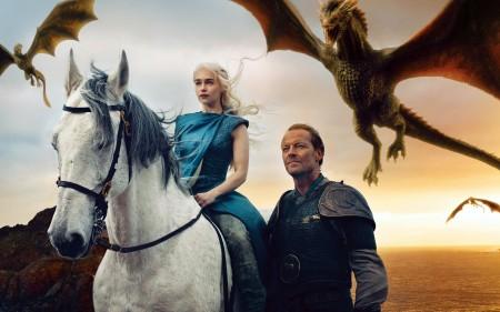 Papel de parede Game of Thrones: Daenerys Targaryen e seus Dragões para download gratuito. Use no computador pc, mac, macbook, celular, smartphone, iPhone, onde quiser!