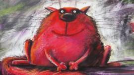 Papel de parede Gato Vermelho Gordo