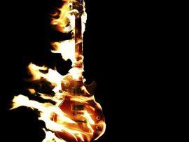 Papel de parede Guitarra em chamas