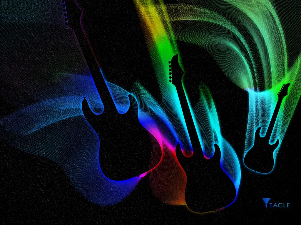 Papel De Parede Guitarras Coloridas Wallpaper Para